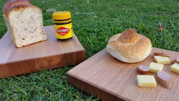 close up of thick chopping boards made in australia
