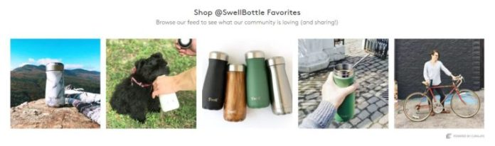 User images of S'well's Traveler series which appears at the bottom of the product page for a Traveler bottle