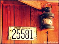 old license plate and lamp