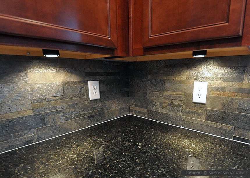 Black countertop slate brick backsplash tile from ... on Kitchen Backsplash With Black Countertop  id=72773