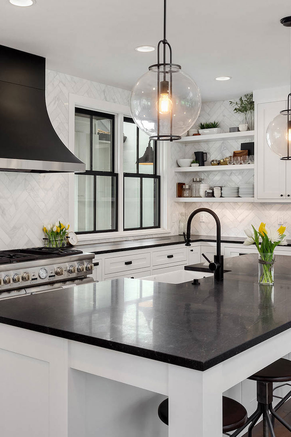 50+ Black Countertop Backsplash Ideas (Tile Designs, Tips ... on Backsplash For Black Granite Countertops And White Cabinets  id=12094