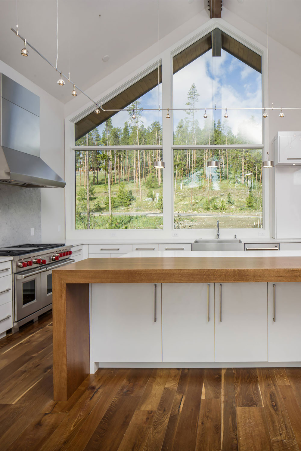 54 white cabinets with butcher block