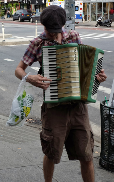 If he's smart enough to play an accordion, you'd think he'd be smart enough to not eat at Subway
