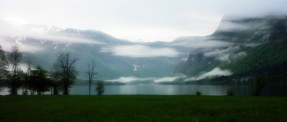 Bohinj Lake at the morning, first view from the tent.