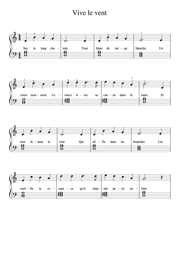 La partition de piano de Vive le Vent, niveau piano débutant.