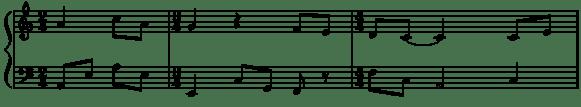 partition musicale avec une mesure à 2/4, une mesure à 3/4 et une mesure à 4/4
