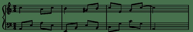 partition musicale avec une note diésée dans la 2e mesure