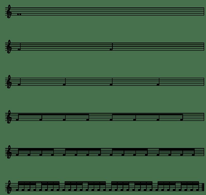 tableau avec les correspondances des valeurs rythmiques des notes de musique