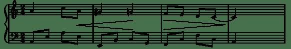 partition musicale avec les lignes d'un crescendo et d'un decrescendo