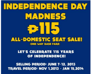 PAL Express Promo Fare 2013 to 2014: November, December, January