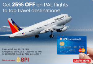 25% OFF Philippine Airlines Promo Fare by BPI Credit Card