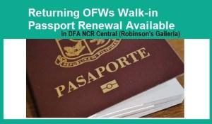 Returning OFWs and seafarer walk-in passport allowed