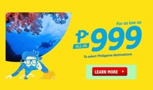 Cebu Pacific Promo Fares for December to March 31, 2017 Travel Dates
