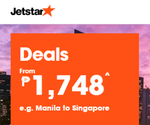 JETSTAR Promo Fare to Singapore at 1,748 Pesos ALL IN.