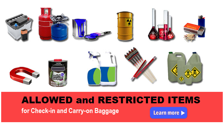 Allowed And Restricted Items For Checked Or Carry On