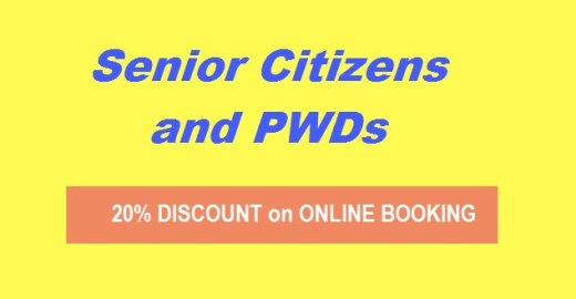 20 off discount online booking senior citizen pwd
