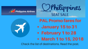 PAL Promo fares for January 15 to 31, February 1 to 28March 1 to 15, 2018