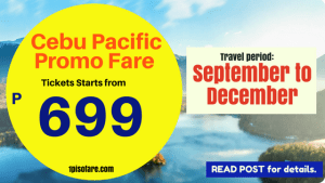 Cebu Pacific Air Promo Fare 2018: September, October, November, December