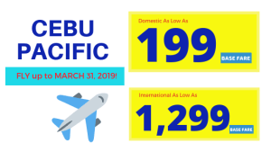 Cebu Pacific Promo Base Fare for December 2018 to March 2019