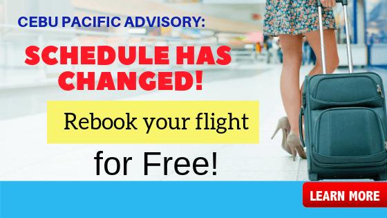 rebook ticket cebu pacific flight advisory schedule changed