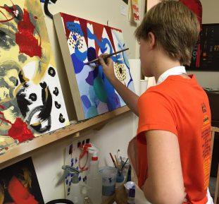 Teen painting class at Brown Bird Studio