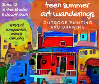 In the Studio and Downtown Helena. Composition, Color and Drawing Basics. Lunch at the Parrot. (Start in the studio with overview of basics and mark-making. Then to the walking mall to practice what we learned. Lunch will be late, so make sure your girls have a healthy snack before they arrive.)