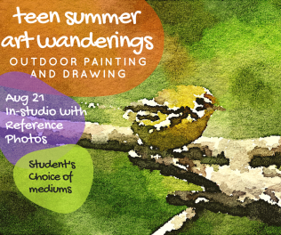 Aug 21 In-studio using reference photos to paint and draw with students' choice of mediums.