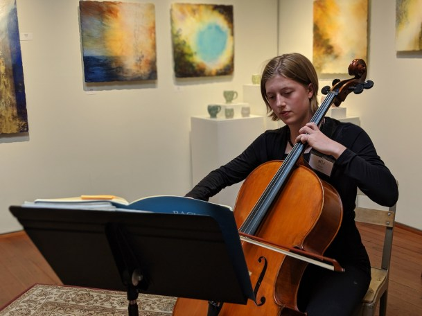 Grace Snyder, half of the Amazing Graces, on cello