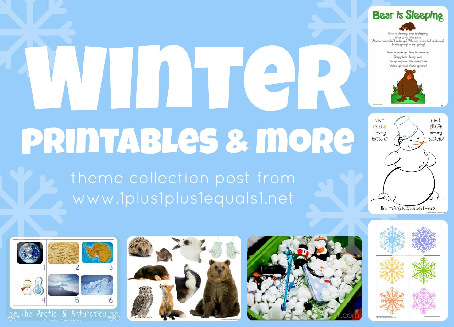 Winter Theme Printables Amp More