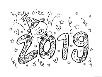 Happy New Year 2019 Coloring Pages 1 1 1 1