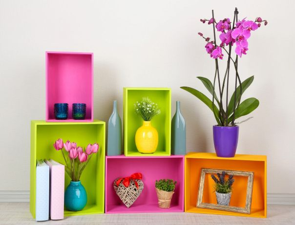 Image of colorful wood crates used as shelving for nick knacks.