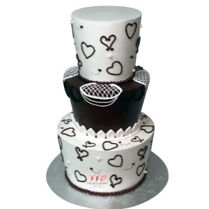 2205  3 Tier Brown and White Western Wedding Cake   ABC Cake Shop     3