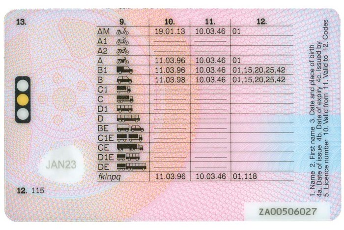 driving licence entitlements