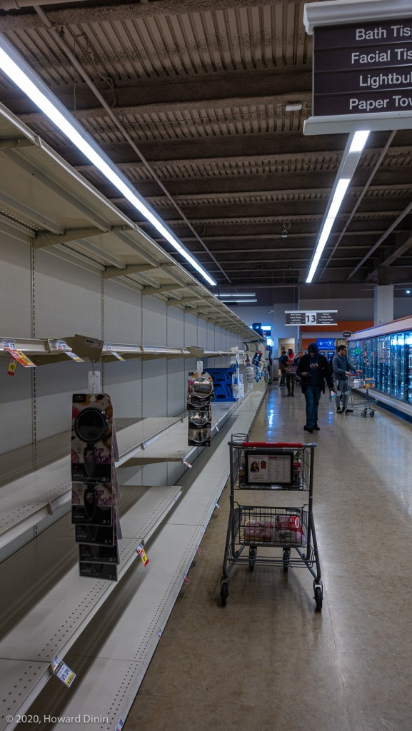 shows the empty paper goods aisle