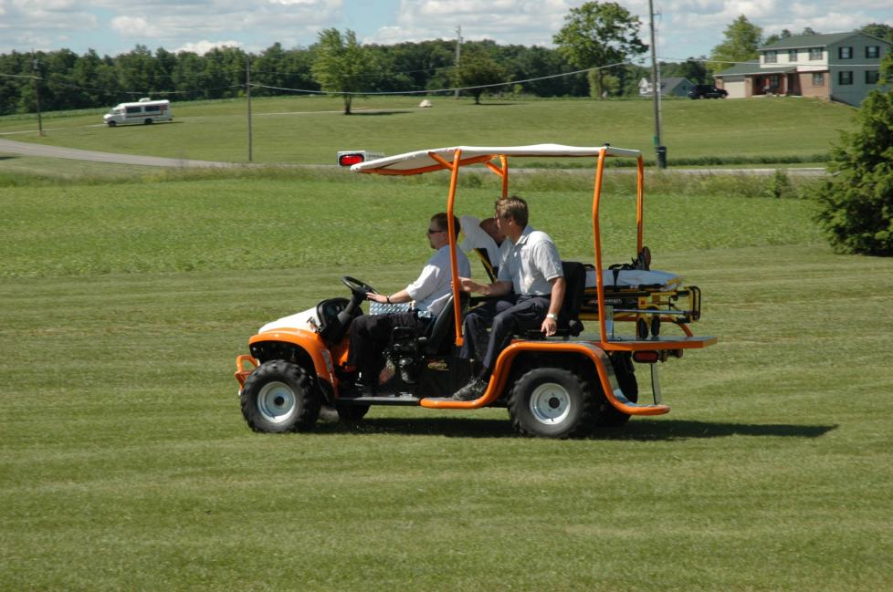 MERV with patient driving across field
