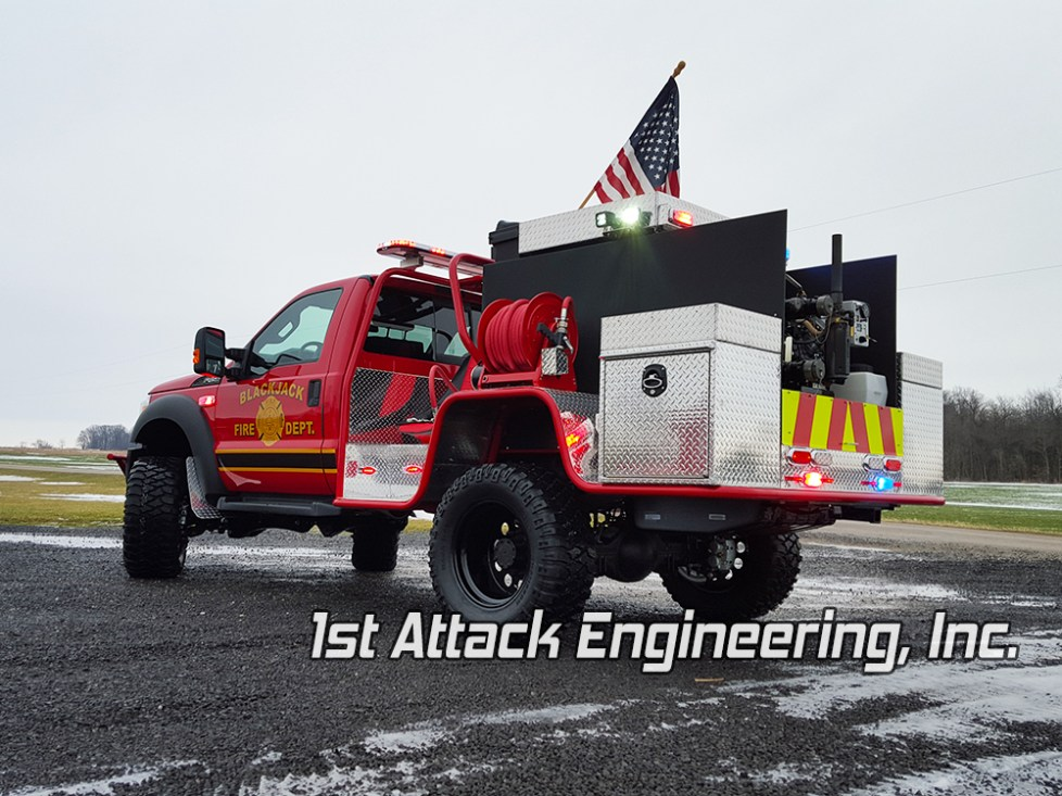 Blackjack Volunteer Fire Department Truck- driver side rear angled view
