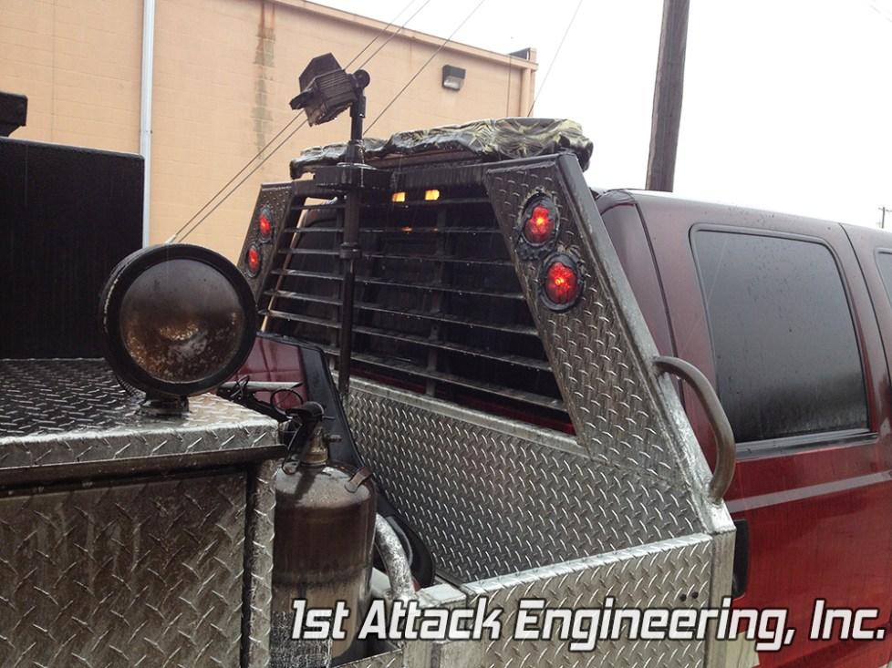 Shows lights still work in headache rack after fire. Florence Township Fire Department