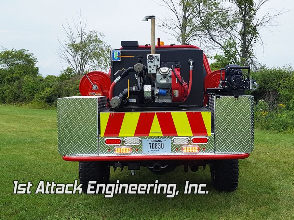 The rear view of Johnson Township Fire Department truck