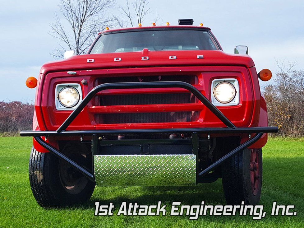 Brush grass fire truck front brush guard with spray nozzles