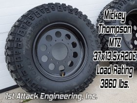 Mickey Thompson MTZ 37x13.5 tire mounted on 1st Attack Super Single rims