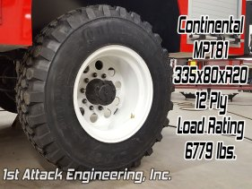 Continental MPT81 335x80 tire 6779 lb load rating 1st Attack super single rim