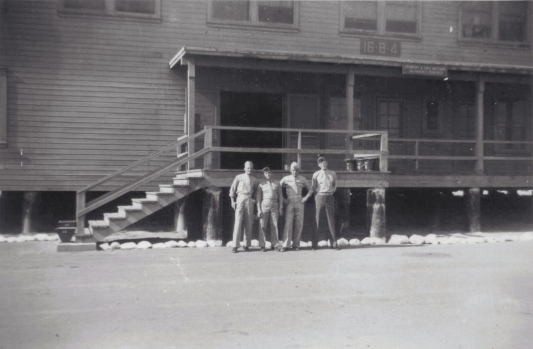 Outside the Company A barracks, featuring Sgt. Ckaminsky's infamous regulation whitewashed rocks.