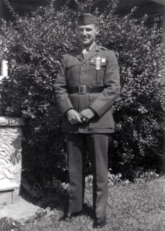 Claude Henderson, mortar section. Henderson wanted so badly to be an NCO that he had corporal's chevrons sewn onto a spare blouse - once found out, his friends teased him mercilessly. He was at last promoted to corporal, but was shot in the throat during the landing on Tinian and died aboard a hospital ship.