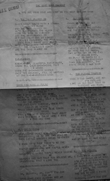 This song sheet was handed out to men of the First Battalion en route to Saipan aboard the USS Calvert.