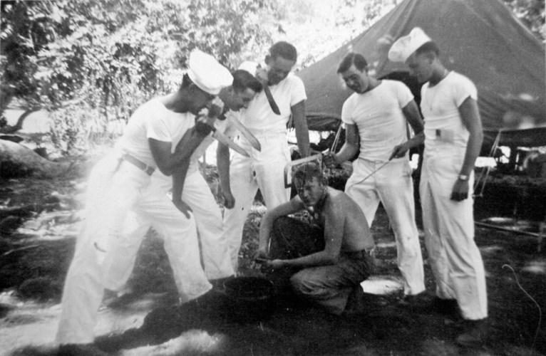 Bill Imm, Donald Hart, Bob Williams, Thomas McCay and JJ Franey versus cook James Coburn. Camp Pendleton, 1943.