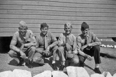 """George Smith, Tom Johnson, JJ Franey and Howie Haff outside their barracks at Camp Pendleton. """"Nobody else had the white rocks."""" - George Smith"""