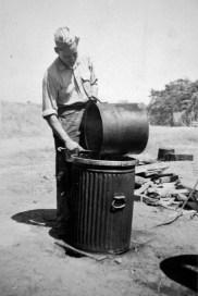 """Bob Williams """"walloping pots"""" at Camp Pendleton, 1943."""