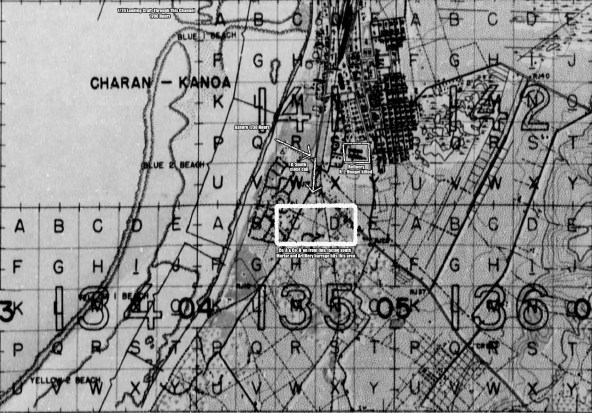 This map detail shows 1/24's area of operations on June 15, 1944. They approached through the channel at 141-A to land on Blue 1 Beach, then proceeded south along the road through the outskirts of Charan Kanoa. Night location for Able and Baker companies was in 135-CD. Click image for full resolution.