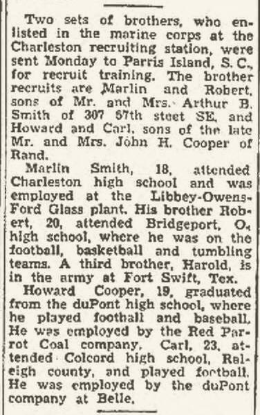 This notice ran in the Charleston Gazette on August 26, 1942.