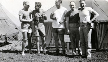"""""""22. L to R Whitey, Lewis, Me, Winker, Reece. 4 July 1945"""""""
